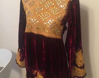 Hippy vintage suede dress