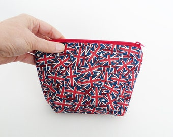 Coin purse, Union Jack fabric, red awhile and blue cotton Union Jack design, cotton purse