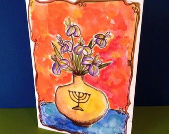 Jewish Art, , Judaica Gift, Hand Painted Card, Menorah, Irises Painting, Jewish Wedding Card, Watercolor, Original Painting, Card to Frame