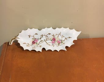 Vintage floral jewelry dish