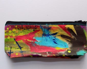 Canvas Zip Pouch - hand painted pencil make up bag ZPG10