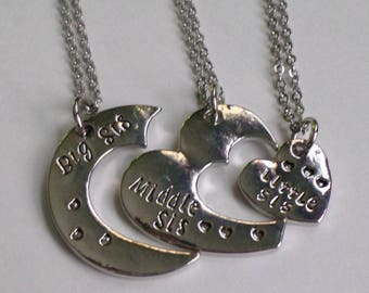 Sister Interlocking Hearts Necklace, sister trio, Big sis, middle sis, little sis.