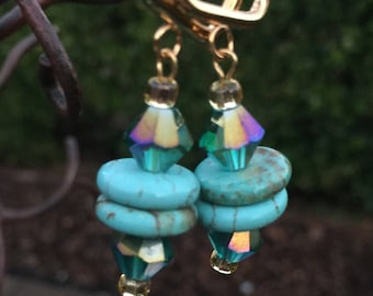 Turquoise Stone and Crystal Earrings