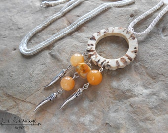 Dreamcatcher - horn and chalcedony necklace - boho - horn jewelry chevreuil- Collection [The Wild] by PLK