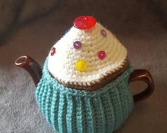 "2 Cup Tea Cosy. Handmade crochet ""Blue Cupcake"""