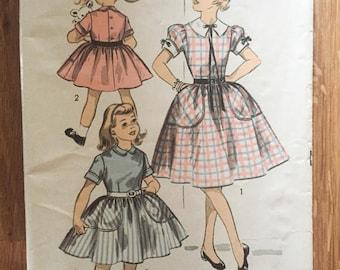 "Advance Girl's Dress Vintage 1950s #6642 Size 10 Bust 28"" - NC - 1950 Advance / 50s Advance / 1950s Sewing Pattern"