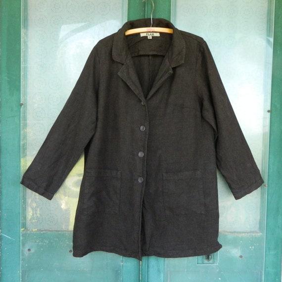 FLAX Designs Blazer Jacket -M- Dark Chocolate Brown Heavy Weight Linen
