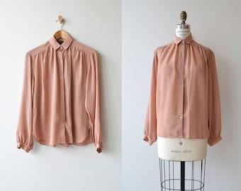 Breckinridge blouse | vintage blush pink blouse | gathered billow blouse