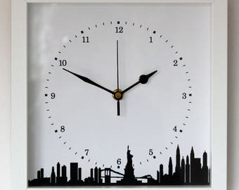 NEW 25cm New York Skyline Wall Clock - Cityscape Modern White Black NYC