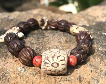 Surfers Wood flower bracelet