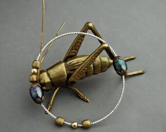 Meta - Tahitian pearl bangle, Argentium silver, stacking bangle, gift for her, bangle, OOAK, pearl bangle,bangle bracelet, hand made, Boho