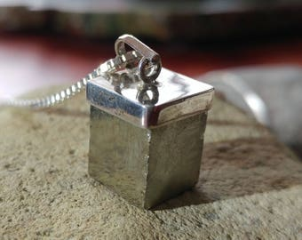 Natural Pyrite and and Sterling Silver Necklace