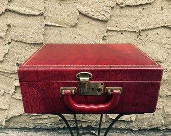 1950's Lil' Leather Red Train Case w Empty Containers Travel Suitcase Vintage Faux Crocodile Pattern