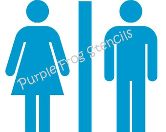 Bathroom STENCIL (Reusable)  Different Sizes Available Reg and Commercial Grade Thickness
