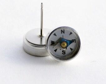 Working Compass Studs, Steampunk Compass Earrings, Graduation Gift, Wearable Tech Jewelry, Traveler gift, Geek Jewelry, Surgical Steel Studs