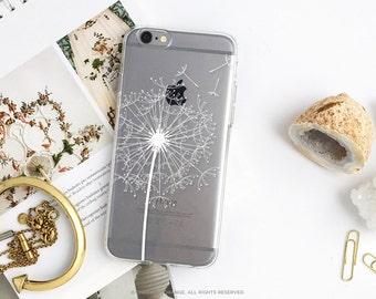 iPhone 8 Case iPhone X Case iPhone 7 Case Dandelion Clear GRIP Rubber Case iPhone 7 Plus Clear Case iPhone SE Case Samsung S8 Plus Case U167