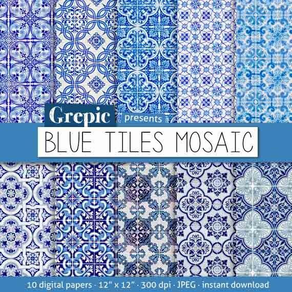 Digital Paper Mosaic Blue Tiles Mosaic With Blue