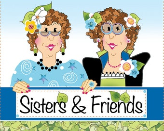 "AP6.41 - Sisters & Friends - 6"" Fabric Art Panel"