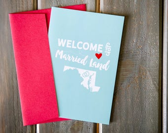 "Welcome to Married Land Card - 4""x6"""