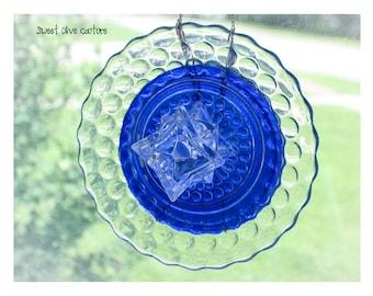 Suncatcher, sun catcher, glass, window decoration, cobalt blue, upcycled, lantern lens, OOAK , bubble glass, handmade, glass art, home decor