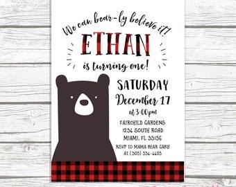 Bear Birthday Invitation, Lumberjack Birthday Invitation, First 1st Birthday Boy, Flannel Buffalo Plaid Invitation, Printable Invite