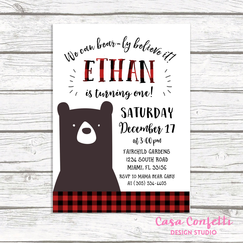 Bear Birthday Invitation, Lumberjack Birthday Invitation, First 1st ...