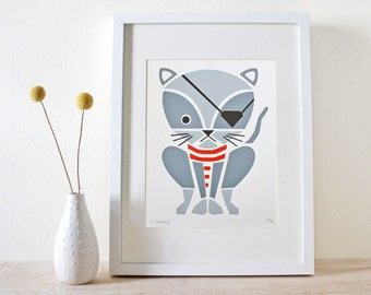 Cat Print, Pirate Kitty Screenprint, Nursery Art, Kids Art