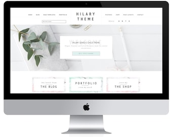 Feminine Wordpress Theme Hilary / Ecommerce and Portfolio / Genesis Child Theme / Woocomerce Theme / Photography Theme / Mint Peach