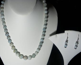 A Beautiful Aquamarine Necklace and Earrings. (2017273)