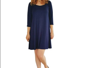 Navy dress, little blue dress, navy casual dress, navy work dress, dark blue dress, knit dress, LBD, navy tunic, navy leggings top