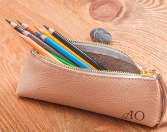 Leather pencil case pencil case leather pen case leather pouch pencil pouch pen case pencil holder personalized pen case cosmetic bag gift