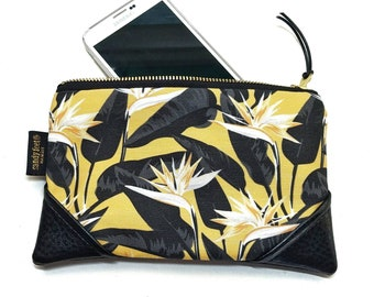 Mini Mustard Bold Bird of Paradise Zipper Pouch / Mini Clutch with inside lining and Zipper Pull or Leather Wristlet Strap
