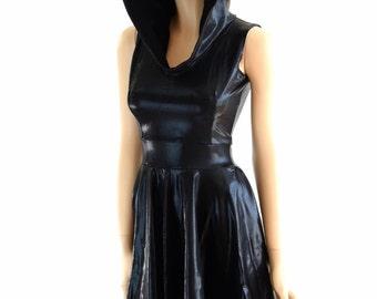 Sleeveless Black Mystique Hoodie Skater Dress with Soft Knit Black Zen Hood Lining 152451