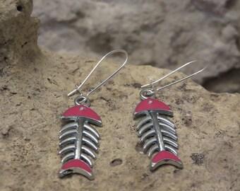 Earrings sleepers fuscia fish skeletons