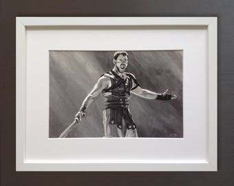 GLADIATOR wall art - giclee print of 'Are You Not Entertained?' painting by Stephen Mahoney - Russell Crowe as General Maximus in Gladiator