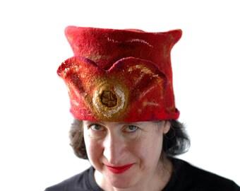 Claret Red Felt Hat Golden Snitch Top Hat Gryffindor Colors  Harry Potter Gift Unisex Red Wet Felted Hat