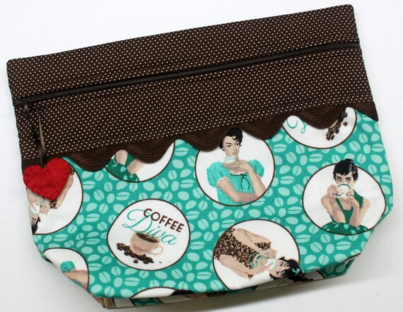 Lil' Big Bottom Coffee Diva Cross Stitch Embroidery Bag