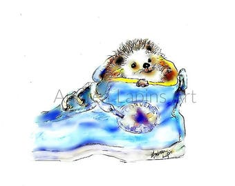 Hedgehog  Baby  Print, Nursery Art,  Porcupine, Hedgehog Art, Woodland Nursery, Andrea Lapins Art