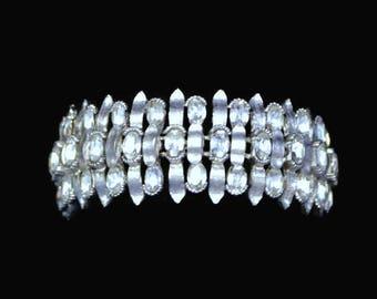 Crown Trifari Rhinestone Bracelet In Brushed Silver Tone, Bridal Jewelry