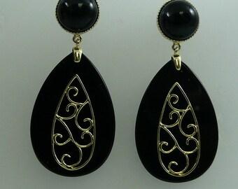 Black Onyx Earrings 14k Yellow Gold
