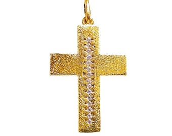 Diamond Cross Necklace, 18K Solid Gold, Handmade Orthodox Cross, Natural Diamond Pendant, Crucifix, Christian Cross For Women And Men