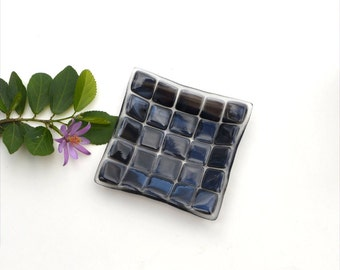 Small fused glass art plate, squares of black and grey