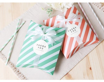 Pillow gift box : Medium 10 pieces, Party favor, Holiday, Mother's day, Birthday, Baby shower, Handmade craft_Mint stripe, Pink Stripe box
