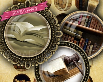 """Old books, libraries - digital collage sheet - td104 - 1.5"""", 1.25"""", 30mm, 1 inch -  Jewelry Supplies, Pendants, Buttons, images  for glass"""