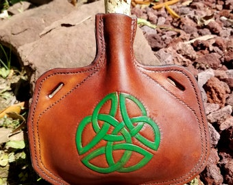 Leather Bottle with Celtic Knot - Irish Medieval Knot Hand Tooled Hand Stitched Small Leather Flask