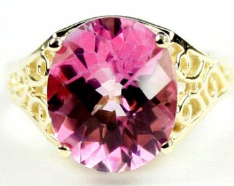 Pure Pink Topaz, 18KY Gold Ring, R057