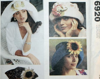 Ladies Hat Sewing Pattern - Child's Hat Sewing Pattern - Girl's Hat sewing Pattern - McCall's 6920 - Vintage - New - Uncut
