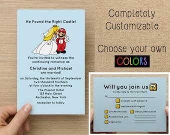 DIY Printable Video Game Wedding Invitation with RSVP, Gamer Wedding, Video Game Wedding, Video Game RSVP, Customizable, Nerdy Wedding