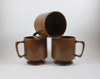 Trio of Brown Melamine Mugs Coffee Cups Vintage Mid Century Pedestal Stacking