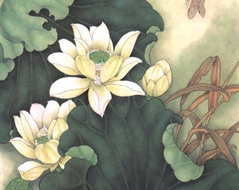 Art Wall Mural DIY Lotus And Dragonfly Decal Classical Style Canvas